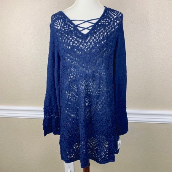 Style & Co Tops - Style & Co. Royal Navy Blue Lace Up Knit Tunic